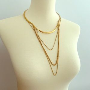 Stella & Dot 3 chain fashion necklace